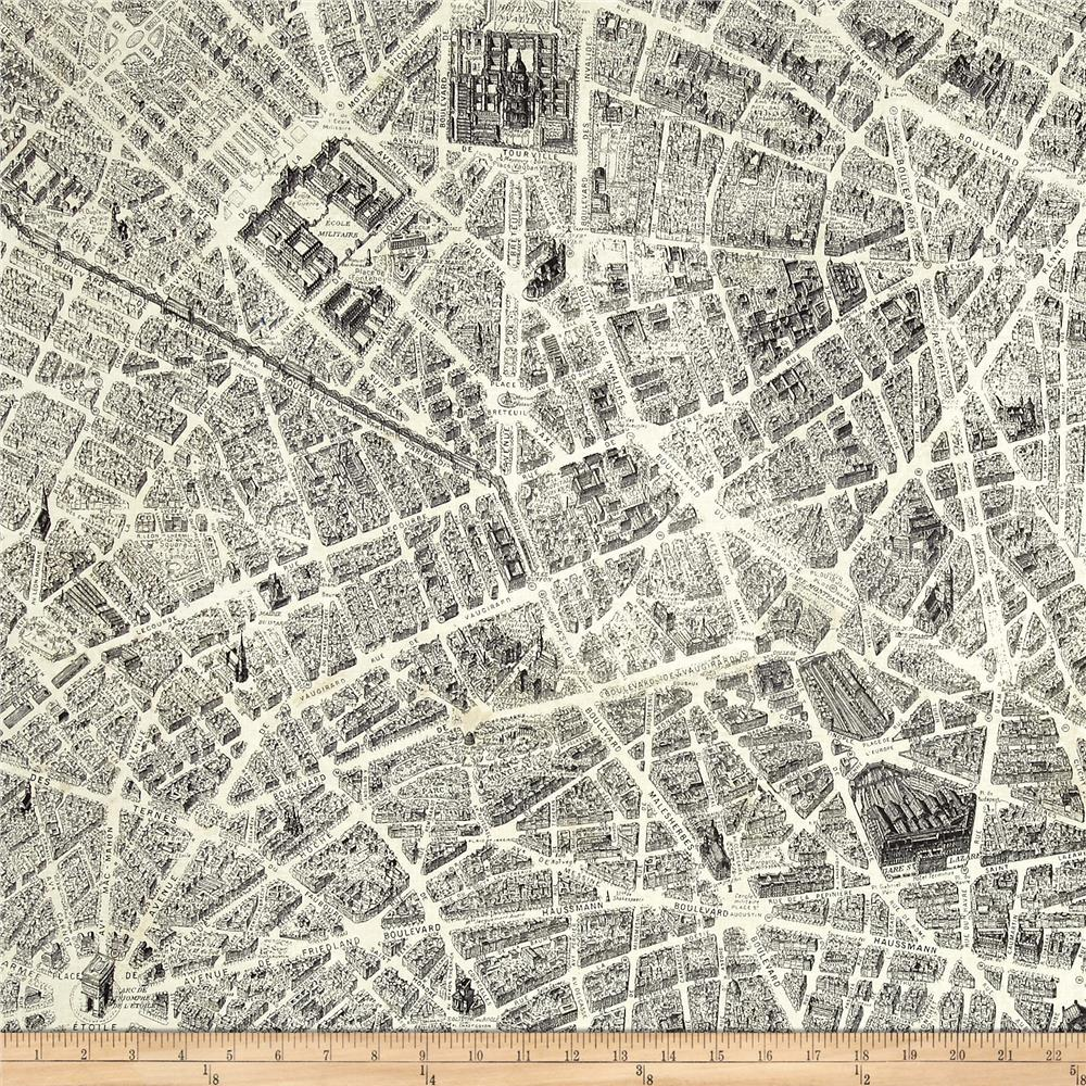 Destination Paris Map Multi Discount Designer Fabric Fabriccom - Paris map fabric