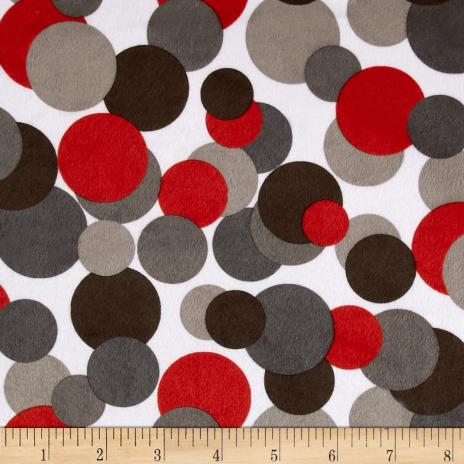 Minky Candy Circles Grey/Red Fabric