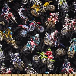 Extreme Sports Motorcross Black Fabric