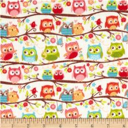 Riley Blake Happy Flappers Flannel Owls Cream