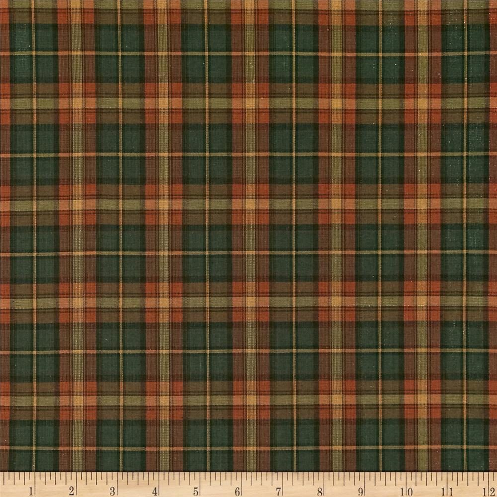 Holiday Blitz Large Plaid Green Orange Discount Designer