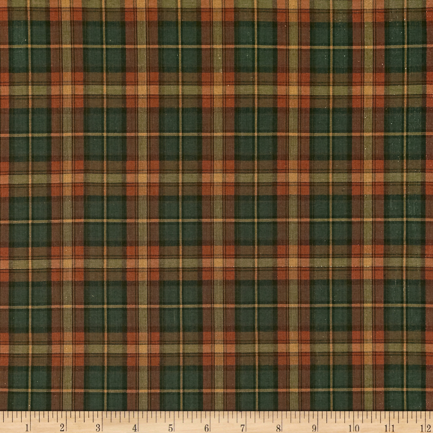 Holiday Blitz Large Plaid Green/Orange Fabric