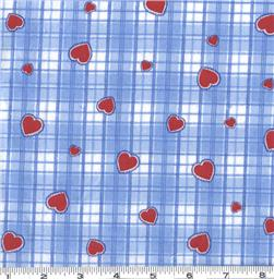 Flannel Hearts on Gingham Blue