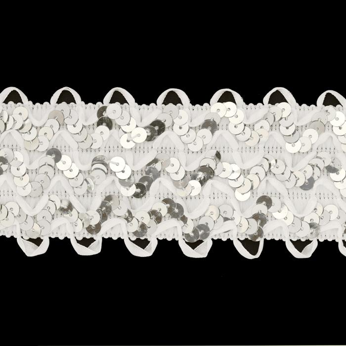 "2 3/4"" Stretch Sequin Ric Rac Ribbon Trim Silver/White"