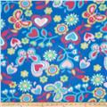 Fleece Print Flowers Blue/Lime