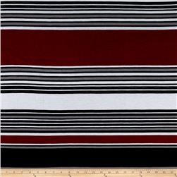 Fashion Jersey Knit Stripe Burgundy
