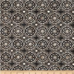 French Designer Cotton Poplin Tribal Ogee Black/Cream/White