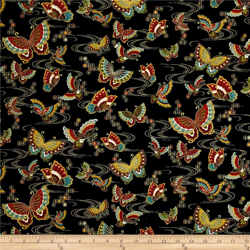 Timeless Treasures Metallic Zen Oasis Butterflies Black