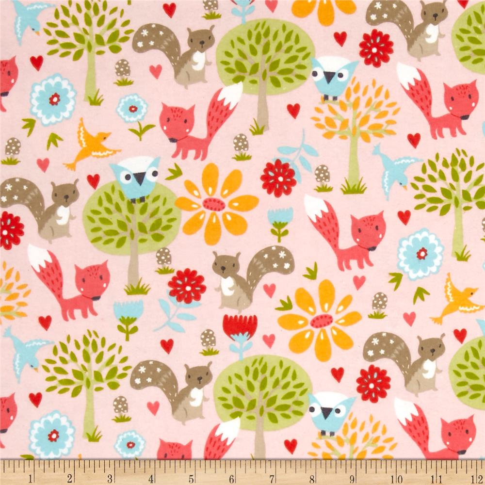 Woodland Animals Forest Collage Flannel Pink