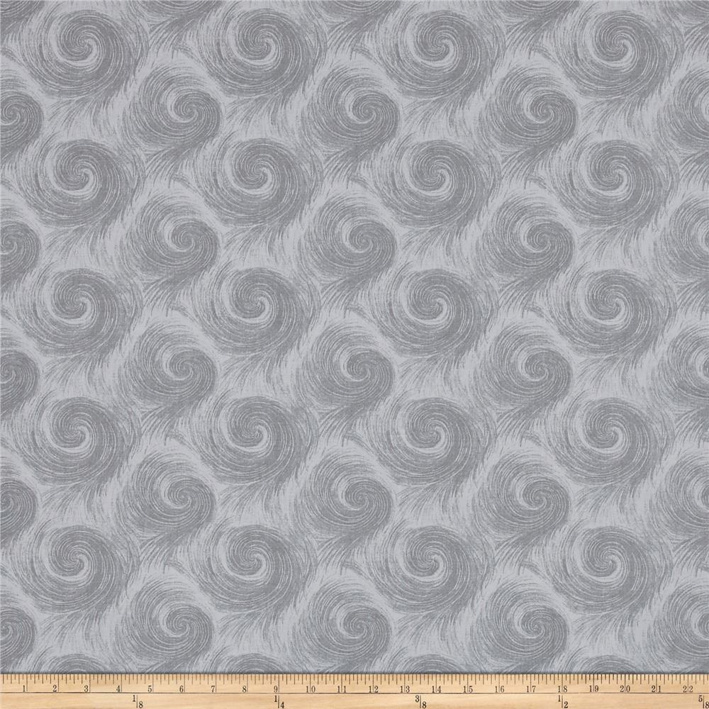 "Breezy 108"" Wide Back Circular Print Med Gray On Lt Gray"