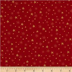 Metallic Christmas Stars and Snowflakes Metallic Red
