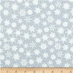 Crystal Palace Snowflake Polka Dot Silver Blue Fabric