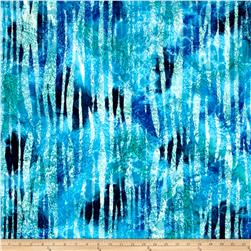 Indian Batik Abstract Stripe Blue/Green