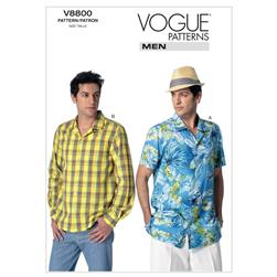 Vogue Men's Shirt Pattern V8800 Size MUU