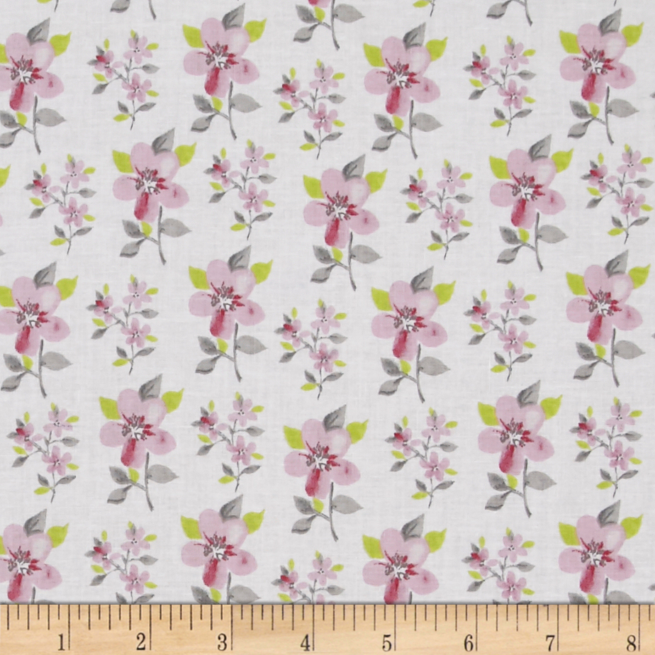 Flutter Tossed Flower White Fabric by Clothworks in USA