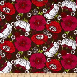 Kaufman 21 Wale Cool Cords Flowers Brown