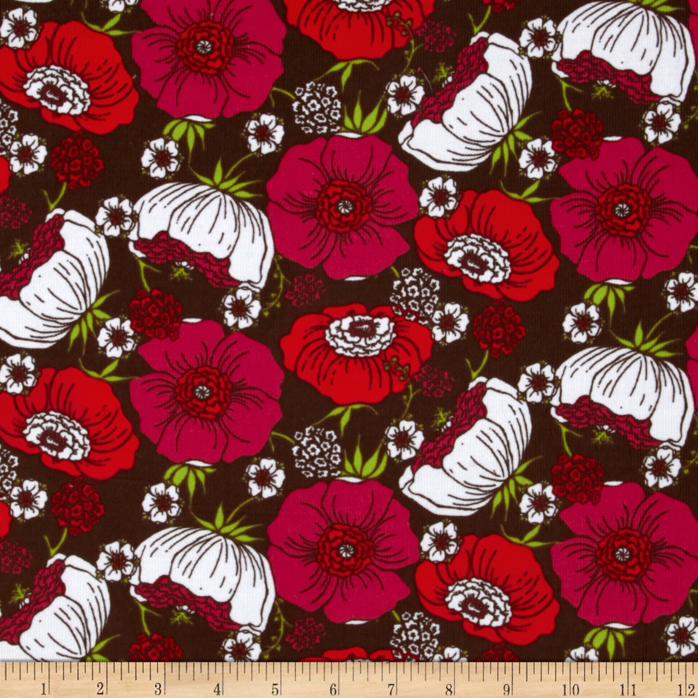 Kaufman 21 Wale Cool Cords Flowers Brown Fabric