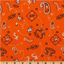 Collegiate Cotton Broadcloth Oklahoma State Bandana Orange Fabric