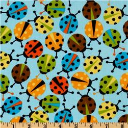 Kaufman 21 Wale Cool Cords Ladybugs Blue Fabric