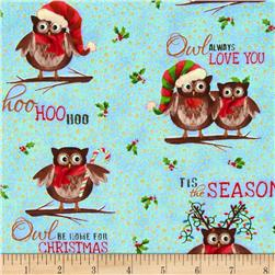 Owl Be Home for Christmas Metallic Allover Owls