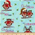 Owl Be Home for Christmas Metallic Allover Owls Blue