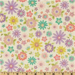 Tossed Flowers White Fabric