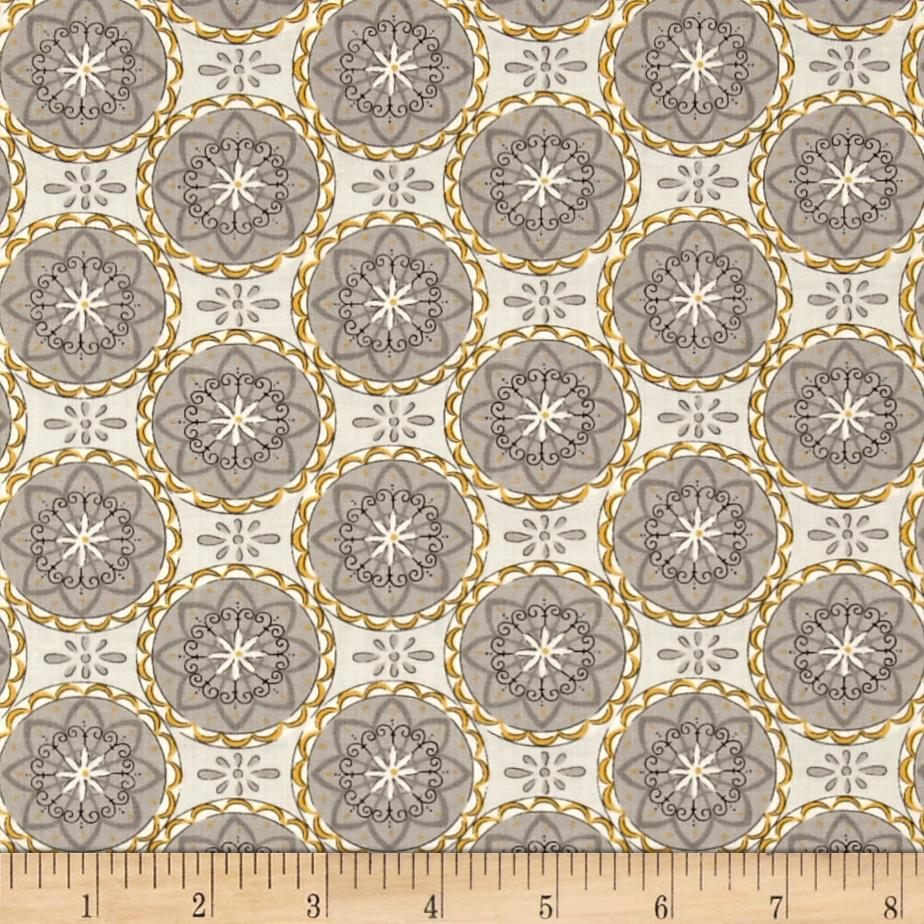 Moda Bee Creative Flower Medallions Dove Grey