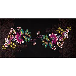Voile Floral Black/Magenta/White/Olive Fabric