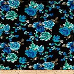 Cotton Lycra Jersey Knit Floral Turquoise