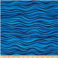 Laurel Burch Sea Spirits Metallic Waves Light Blue