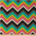 Chiffon Multi Stripe Chevron Aqua/Coral/Yellow