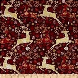 Reindeer Prance Metallic Reindeer Allover Cranberry