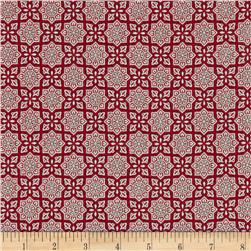 Alchemy Metallic Tiles Red/Silver Fabric