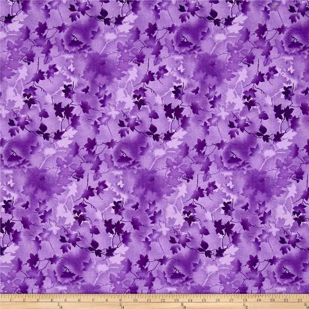Ivy 118'' Wide Back Leaves Purple Fabric