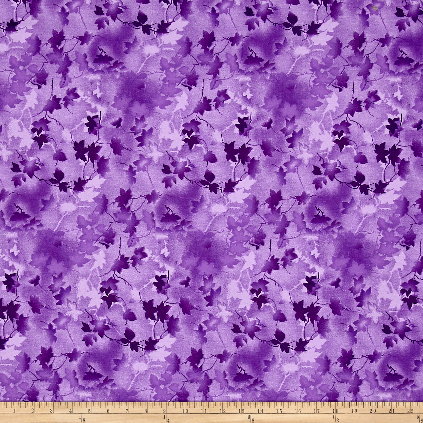 Ivy 118'' Wide Back Leaves Purple Fabric by Fabri-Quilt in USA
