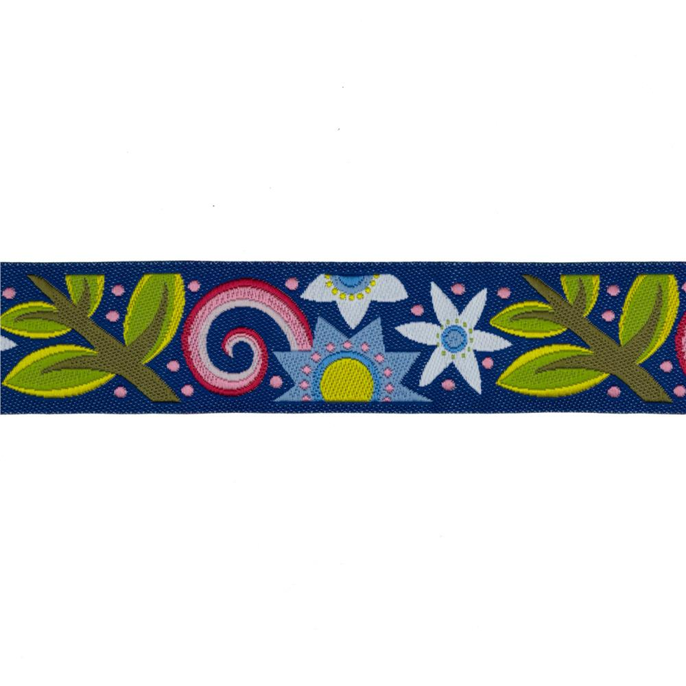"7/8"" Jane Sassaman Bouquet Ribbon Blue"