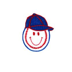 Baseball Happy Face Applique White