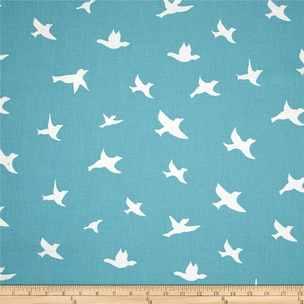 Slipcover fabric by the yard - Premier Prints Bird Silhouette Coastal Blue Discount Designer Fabric Fabric Com