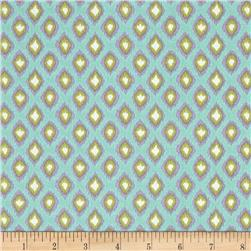 Tangier Ikat Diamond Aqua Fabric