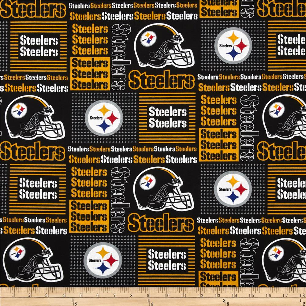 NFL Cotton Broadcloth Pittsburgh Steelers Patchwork Black/Yellow Fabric By The Yard