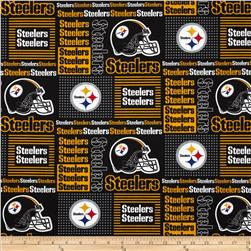 NFL Wide Cotton Broadcloth Pittsburgh Steelers Patchwork