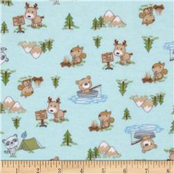 Flannel Camping Forest Animals Light Blue
