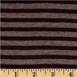 Designer Rayon Jersey Knit Stripes Maroon/Putty