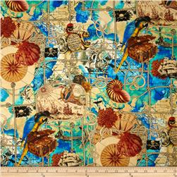 Kanvas Buried Treasure Pirate Map Multi Fabric