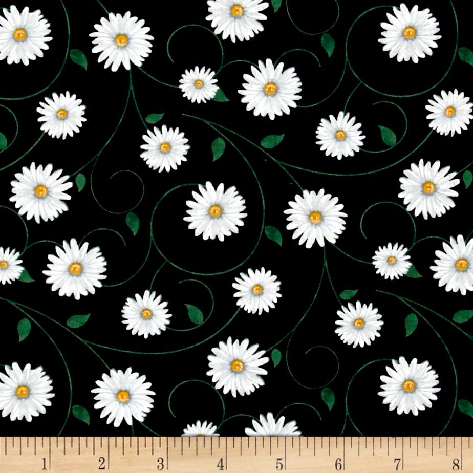 Timeless Treasures Live Love Laugh Tossed Daisy Black Fabric By The Yard
