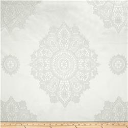 Laurier Satin Medallion Dimensional Jacquard White