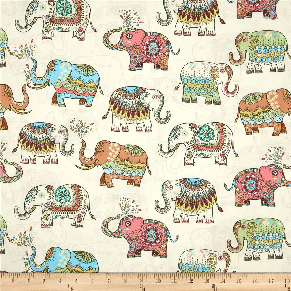 Timeless Treasures Embellished Elephants Cream