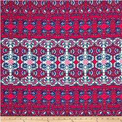 Liverpool Double Knit Print Fuchsia/Light Blue/White
