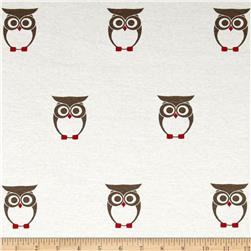 Cotton Lycra Jersey Knit Owl Grey/White