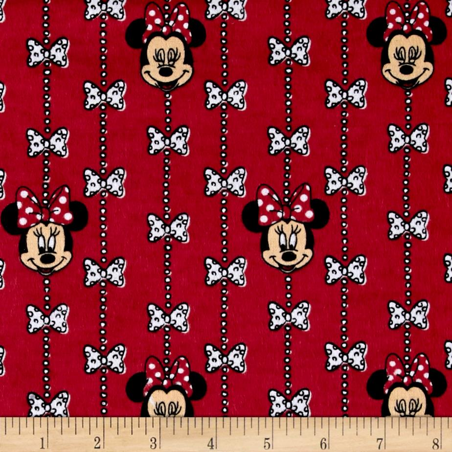 Disney Minnie Mouse Bow Stripe Flannel Red Fabric By The Yard